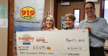 Friends of KRVM receives donation from The Integrity Foundation
